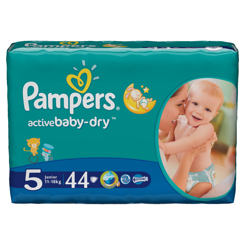 Scutece Pampers Active Baby-Dry 44 bucati 5 Junior 11-18Kg