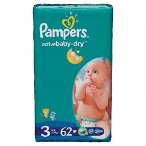 Scutece Pampers Active Baby-Dry Marimea 3 (Midi) 4-9Kg 62 bucati
