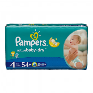 Scutece Pampers Active Baby-Dry 54 bucati 4 Maxi 7-14Kg