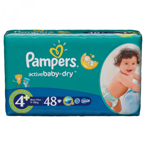 Scutece Pampers Active Baby-Dry 48 bucati 4 Maxi Plus 9-16Kg