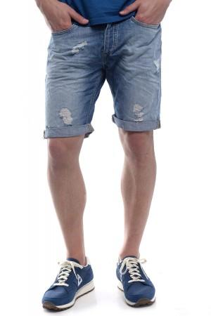 Promotie Pantaloni scurti de jeans albastrii pentru barbati JACK & JONES