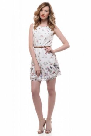 Promotie Rochie alba RASPBERRY cu imprimeu floral