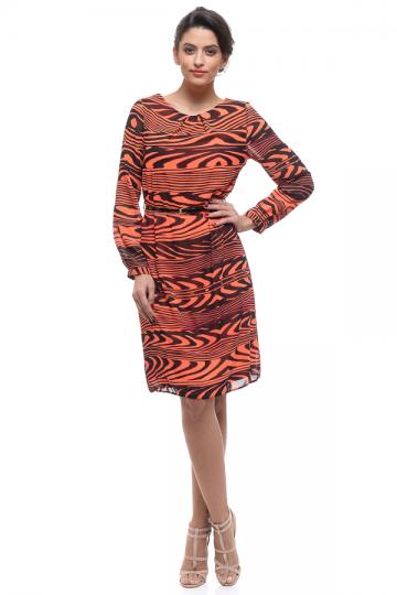 Promotie Rochie casual portocalie RASPBERRY cu curea neagra