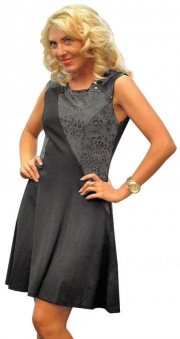 Rochie cu animal print negru 201021N  1