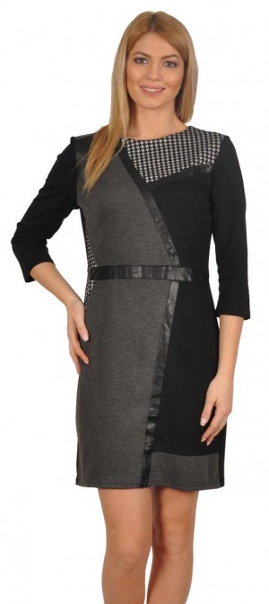 Rochie neagra cu imprimeu eco 201088N