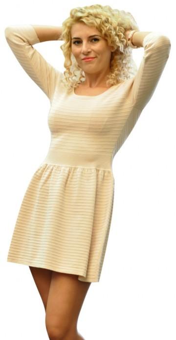 Rochie pulover bej 66076B 1