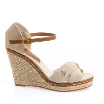 Promotie Sandale cu platforma de dama TERRE DE MARINS cu fundita, Bej deschis