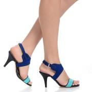 Reducere Sandale cu toc de dama ELLE, Turcoaz