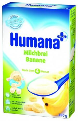 Cereale Humana cu banane, 4+ luni, 250g