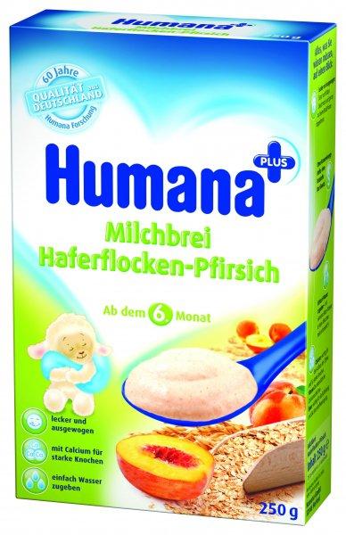 Cereale Humana cu fulgi de ovaz si piersici, 6+ luni, 250g