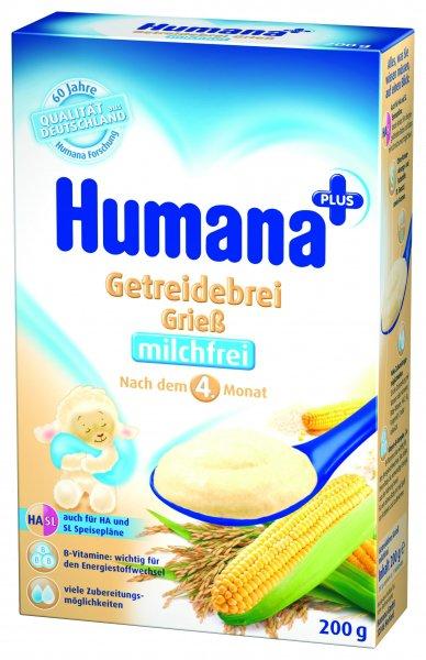 Cereale Humana cu gris fara lapte, 4+ luni, 200g