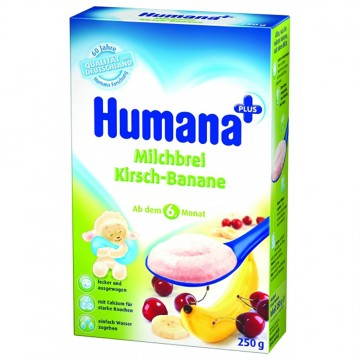 Cereale Humana cu lapte, banane si cirese, 6+ luni, 250g 1