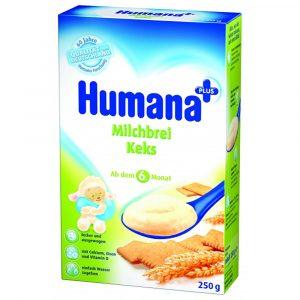 Cereale Humana cu lapte si biscuiti, 6+ luni, 250g