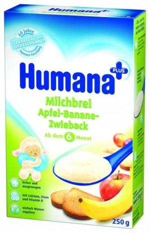 Cereale Humana cu mar, banane si pesmet, 6+ luni, 250g