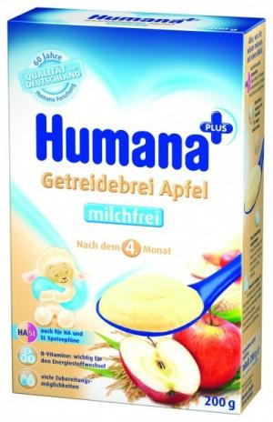 Cereale Humana cu mar fara lapte, 4+ luni, 200g