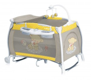Patut pliant Lorelli I'Lounge Rocker Yellow & Grey Bear