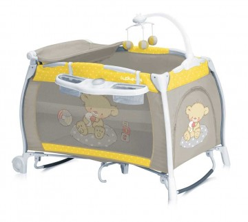Patut pliant Lorelli I'Lounge Rocker Yellow & Grey Bear 1
