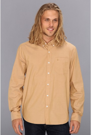 Volcom Why Factor Oxford L/S****** Brown Khaki 1