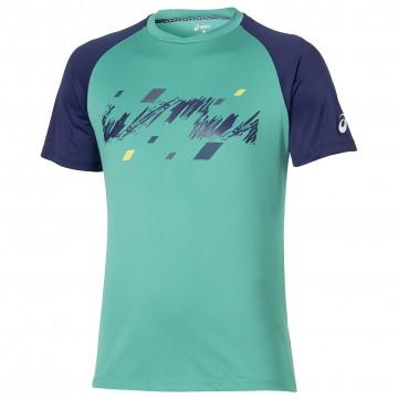 Tricou Tenis Barbati, Asics, Club Graphic, Verde 1