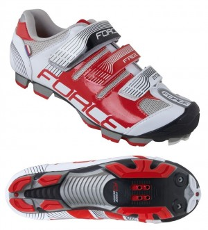 Pantofi Ciclism, Force, Free, MTB, Alb-Rosu, Interior anatomic