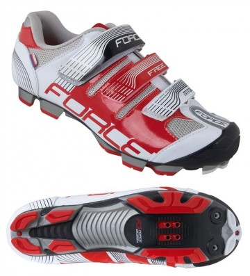 Pantofi Ciclism, Force, Free, MTB, Alb-Rosu, Interior anatomic 1