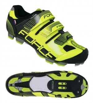 Pantofi Ciclism, Force, Free, MTB, Fluorescent-Negru, Interior anatomic