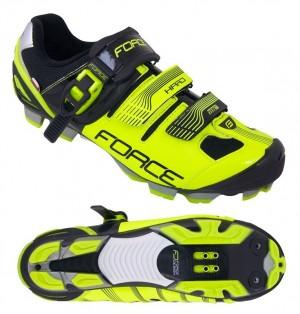 Pantofi ciclism, Force, MTB Hard, Negru-Fluorescent, Talpa anatomica