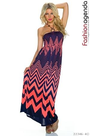 Rochie Lunga Coral Zigzag