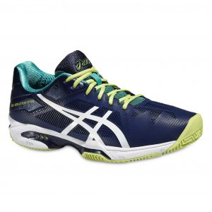 Pantofi Tenis, Asics, Gel-Solution Speed 3 Clay Tennis, Albastru-Alb-Verde, Barbati