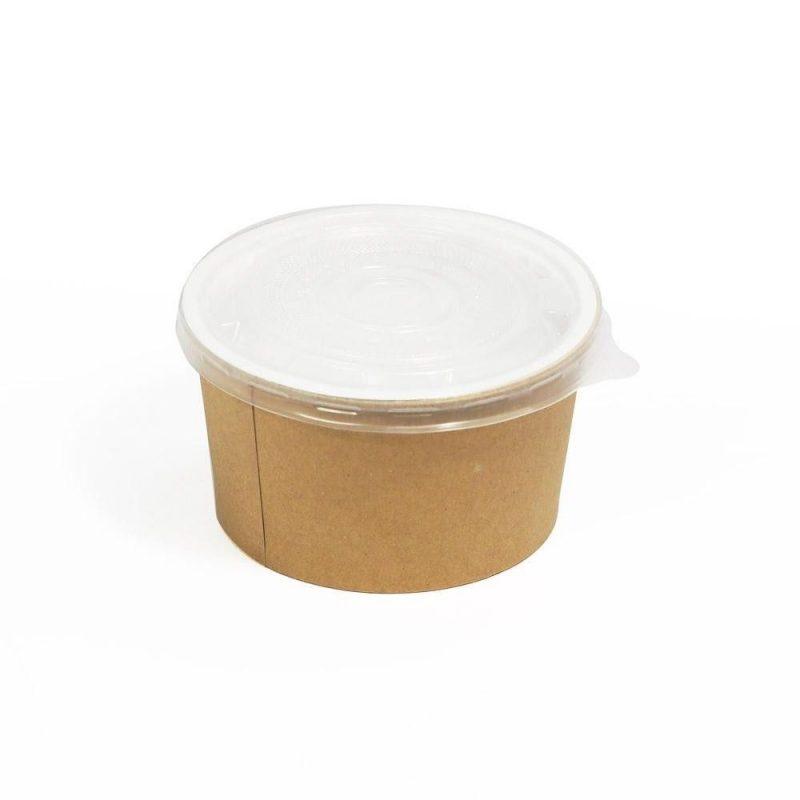 Boluri din carton kraft pentru supa cu capac transparent