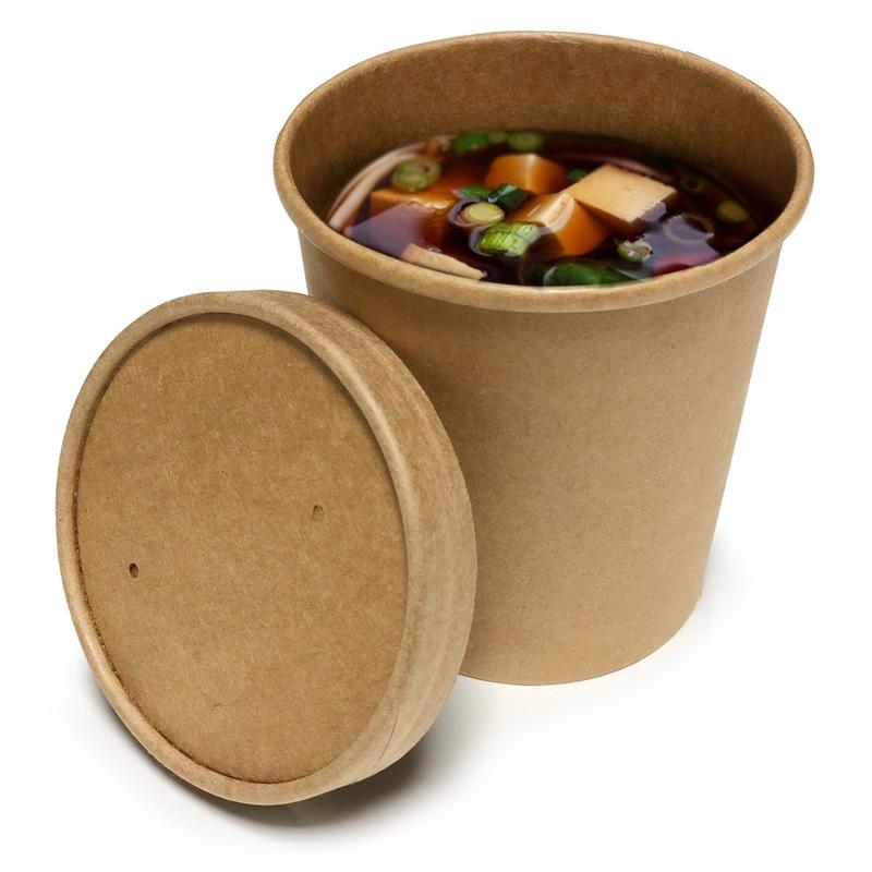 Boluri supa PREMIUM din carton 470 ml, 16 oz si capac din carton