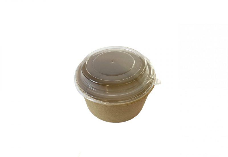 Caserole kraft rotunde din carton pentru salata, cu capac transparent, 750 ml, 50 buc/set